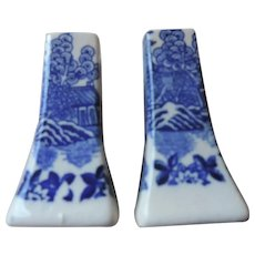 "Blue Willow Salt and Pepper Shakers, 3 1/4"", Made In Japan"