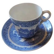 Vintage Tuscan Bone China Blue Willow Cup and Saucer