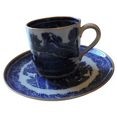 Copeland Spode/Richard Briggs Co Flow Blue, Blue Willow Demitasse Cup and Saucer