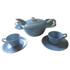 Homer Laughlin Skytone Jubillee, 1951, Tea Pot, 4 Cups and Saucers