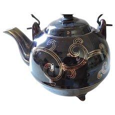 Brown Tea Pot, Wire Handle, Japan