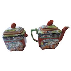 Mason's Patent Ironstone Victorian Tea Pot and Tea Caddy, Chinese Motif
