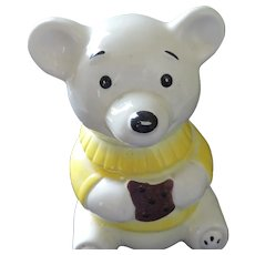 White Teddy Bear Cookie Jar by Marcia