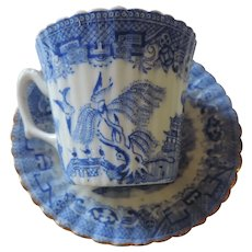 Antique Blue Willow Demitasse Cup and Saucer, Fluted Slides