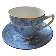 Blue Willow Cup and Saucer, Light Blue, Gold Trimmed, Made In England