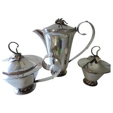 Royal Hickman Three Crowns Silver Plated Coffee Pot, Tea Pot, and Sugar Bowl