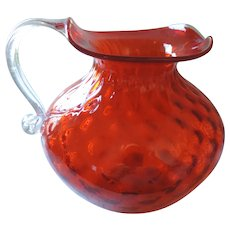 """Cranberry Glass Pitcher, Clear Handle, 6 1/4""""Tall, Hand Blown"""