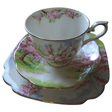 """Royal Albert Blossom Time, 4 Cups and Saucers, 4- 7 1/2"""" Plates, Creamer and Open Sugar"""