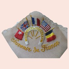 Souvenir de France Hankie, Flags of Germany, US, France, Britain, and China