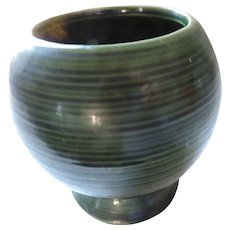 Round, Green Striped, Footed McCoy Vase