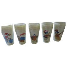 11 Sets of Plastic 1984 Olympic Cups, 44 Pieces