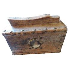 Folk Art Antique Shoe Shine Box, Mirrors, Decorative Brass Tacks