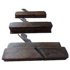 Lot of 3 Antique Wooden Molding Planes