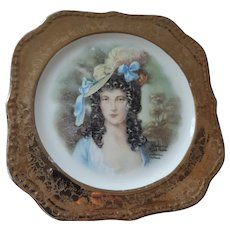Homer Laughlin Georgian plate, Gold Band, Victorian Lady, Rotterdam, Holland