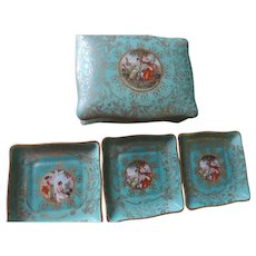 Aqua Blue and Gold Ceramic Cigarette Box and 3 Matching Ashtrays, M&R, USA
