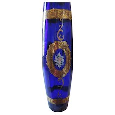Large Bohemian Glass Vase, Cobalt, Gold, Hand Painted Flowers
