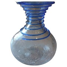 "Crackle glass Vase, Blue Spiral Overlay, Hand Blown, 6 1/2"""