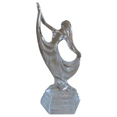 Crystal Art Nouveau Female Dancer Sculpture, 10 1/2""