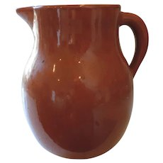 "Bauer Large Glossy Redware Pitcher, 12"" X 10"""