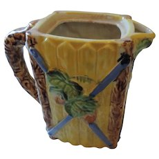 Majolica Pitcher, Grape Motif, Made in Japan, 6 1/2""