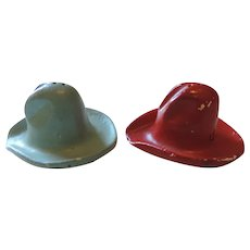 Cowboy Hat Salt and Pepper Shakers, Plaster