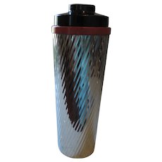 Spiraling Ridged Chrome Cocktail Shaker, 11 1/2""