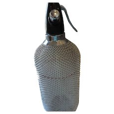 "Seltzer Siphon Bottle, 1930's, Metal Mesh Cover, 14"" X 5"""