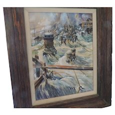 "Val Samuelson Oil Painting, Flooding Ship, 14"" X 18"", Original Frame, 22"" X 26 1/2"""