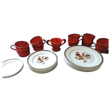 Metlox Red Rooster Poppytrail Dinnerware, 25 Pieces