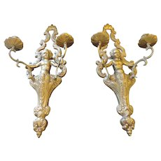 """Vintage Cast Brass Candle Sconces with Cupids, 22"""""""