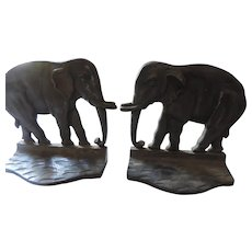 Cast Bronze Indian Elephant Bookends