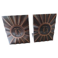 Hyde Park Monogram Bookends, Copper Rays,