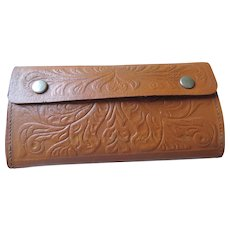 Carved Leather Fishing Fly Wallet with 16 Flies
