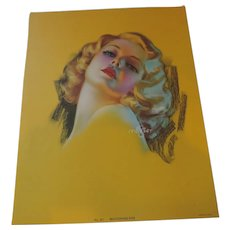 Bewitching Eyes, Art Deco, Zoe Mozert Pin Up Print of Jean Harlow