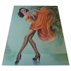 Bill DeVorss Pin Up Print, Brunette in Coral Dress