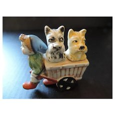 Child Pulling Goat Cart With 2 Puppies Salt and Pepper Shakers