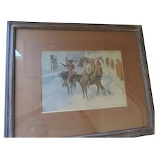 "Frederick Remington Print, ""A Spanish Escort"", 1906, Wooden Frame, 18"" X 21 1/2"""