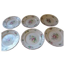 """Luneville Old Strasbourg Faience Pottery, 6- 7 1/2"""" salad Plates"""