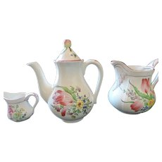 Luneville Old Strasbourg Coffee Pot, Pitcher, and Creamer