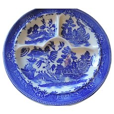 Blue Willow Divided Plates, Set of 6, Moriyama