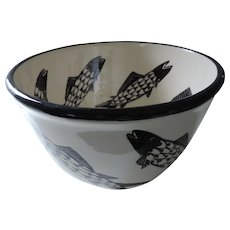 Danish Artist Arne Bang Stoneware Bowl with Black Fish Decoration