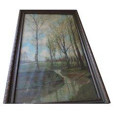 """R. Atkinson Fox Lithograph, Original Frame, 11 1/2"""" X 17 1/2"""""""