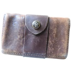 Early Boy Scout Pigskin Coin Holder and Purse, Double Snap Closure