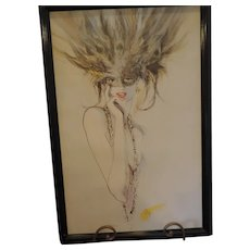 "Showgirl Lithograph by Ely, Framed, 24"" X 36"""