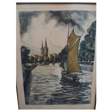 """In Quimper"" Etching and Aquatint, Ferdinand Luigini"