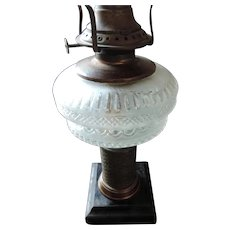 Frosted Pattern Glass Oil Lamp, Victor Burner