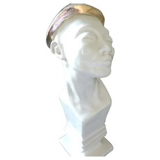 "Ceramic Elongated Bust marked ""Holland"",  Man Wearing Gold Hat"