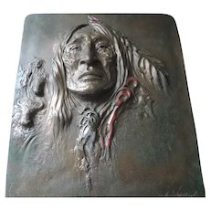 Carlo Wahlbeck Cast Paper Sculpture, Indian Brave, Signed, Numbered, Bronze Finish