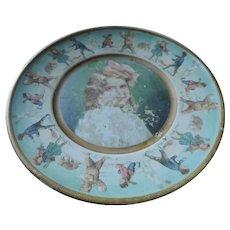 Union Pacific Tea Company Advertising Plate, Blonde Girl, Snow Fight Scenes, 1907