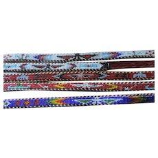 """Set of 5 Indian Beaded Belts, Thunderbird Motif, 27""""-34"""""""